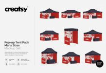 Pop Up Tent Pack Many Sizes Mockup