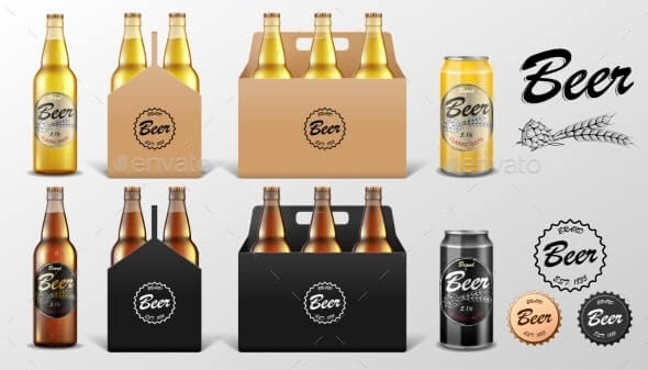 Realistic Set of Glass Beer Bottle and Tin Can