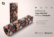 Rolled Up Yoga Mat Set Mockup