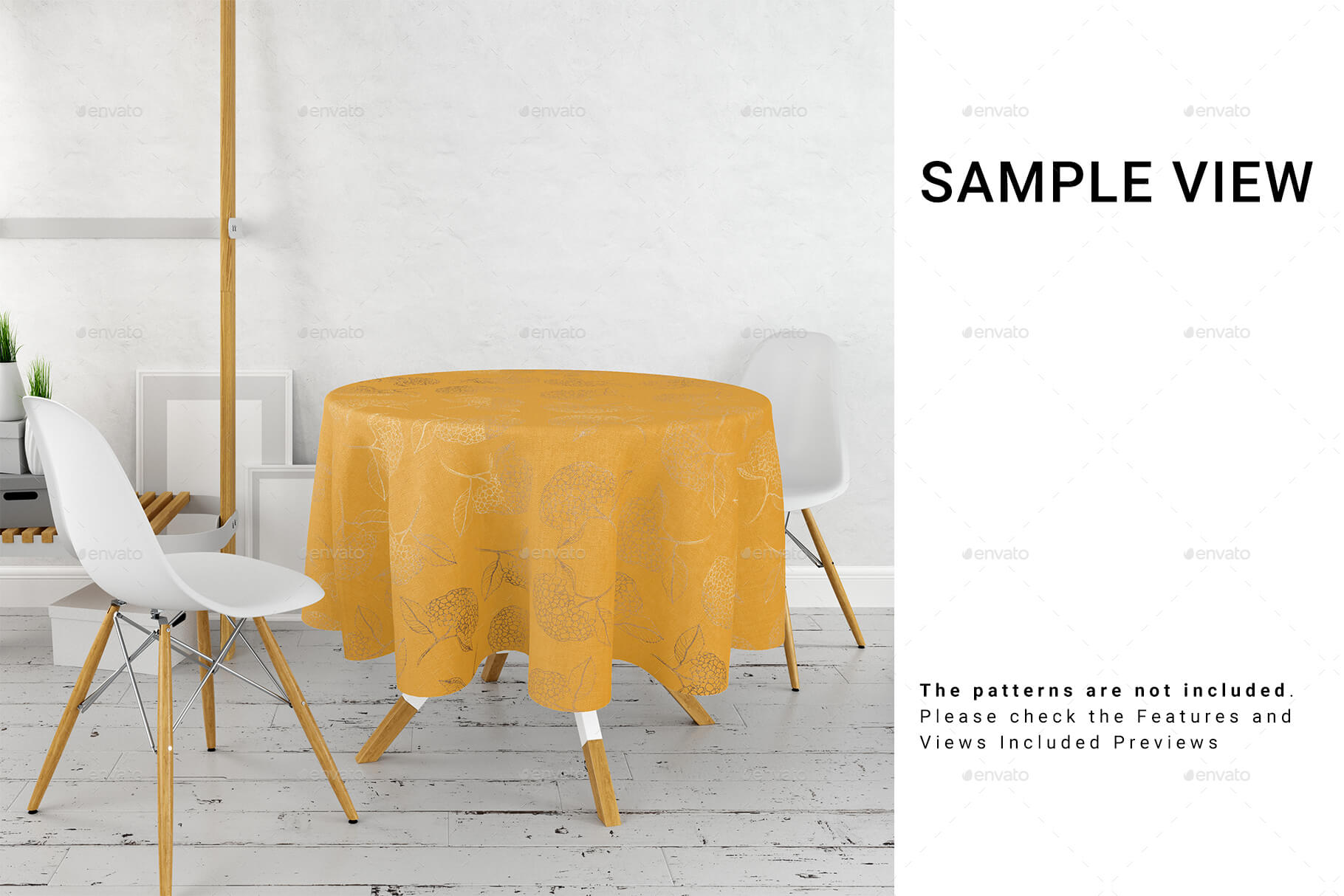 Round Tablecloth in Kitchen Mockup Set