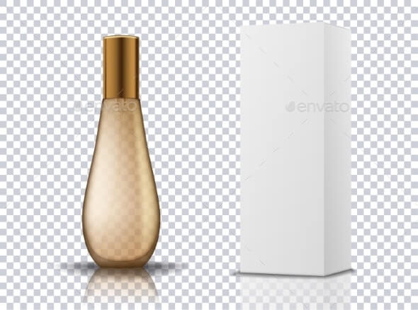 Transparent Gold Perfume Cosmetic Bottle Container