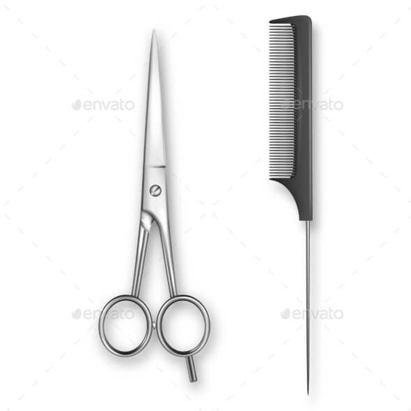 Vector Realistic Classic Scissors and Comb
