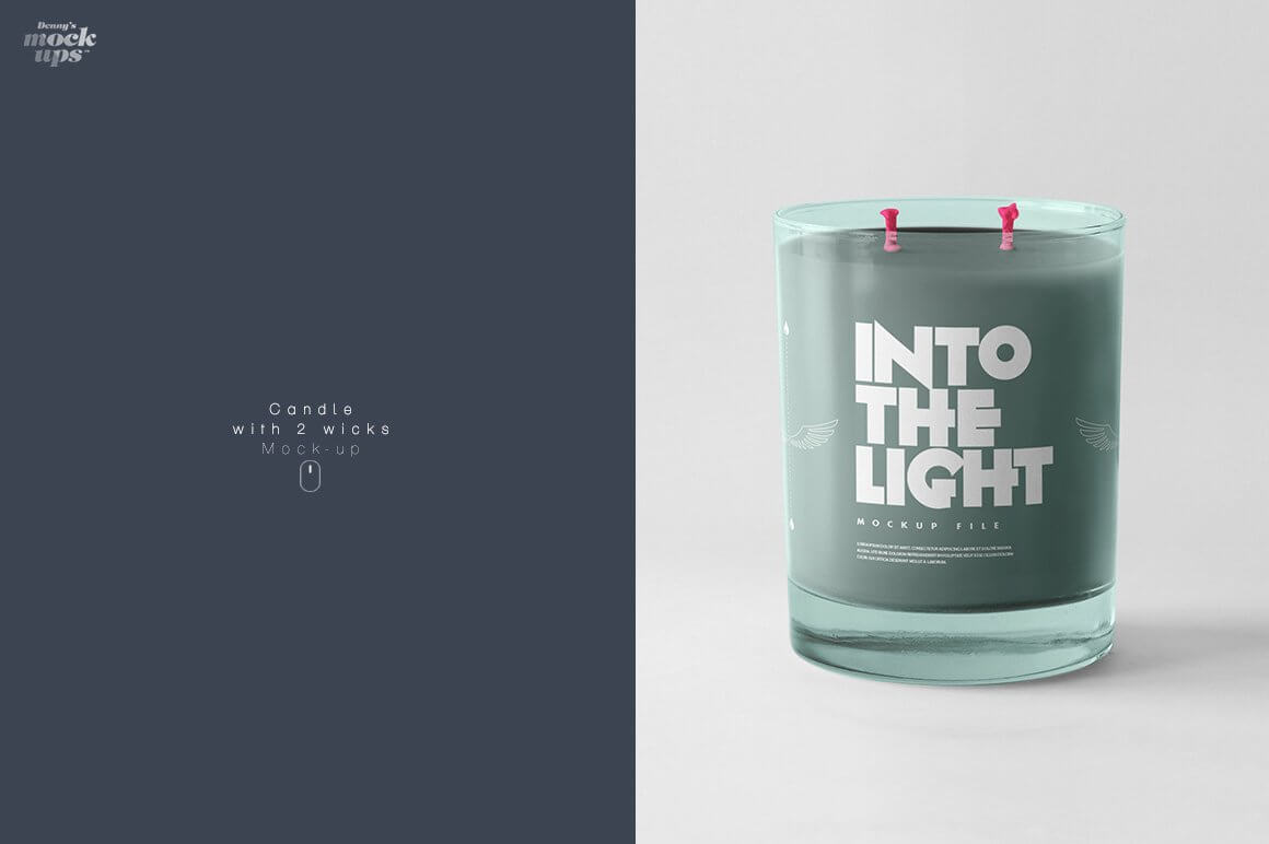 Candle with 2 wicks Mockup