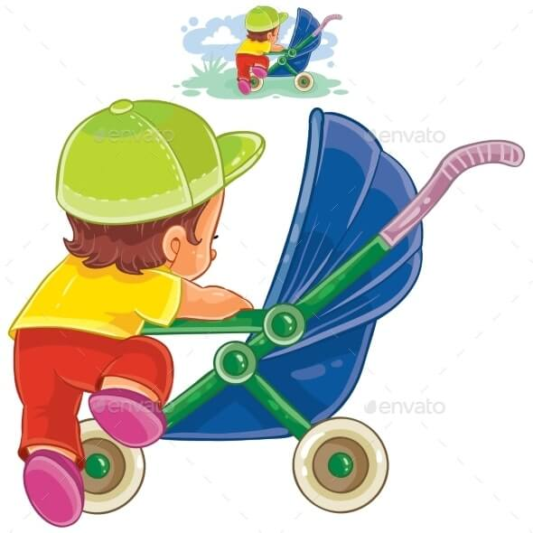 Child Climbs Into Stroller