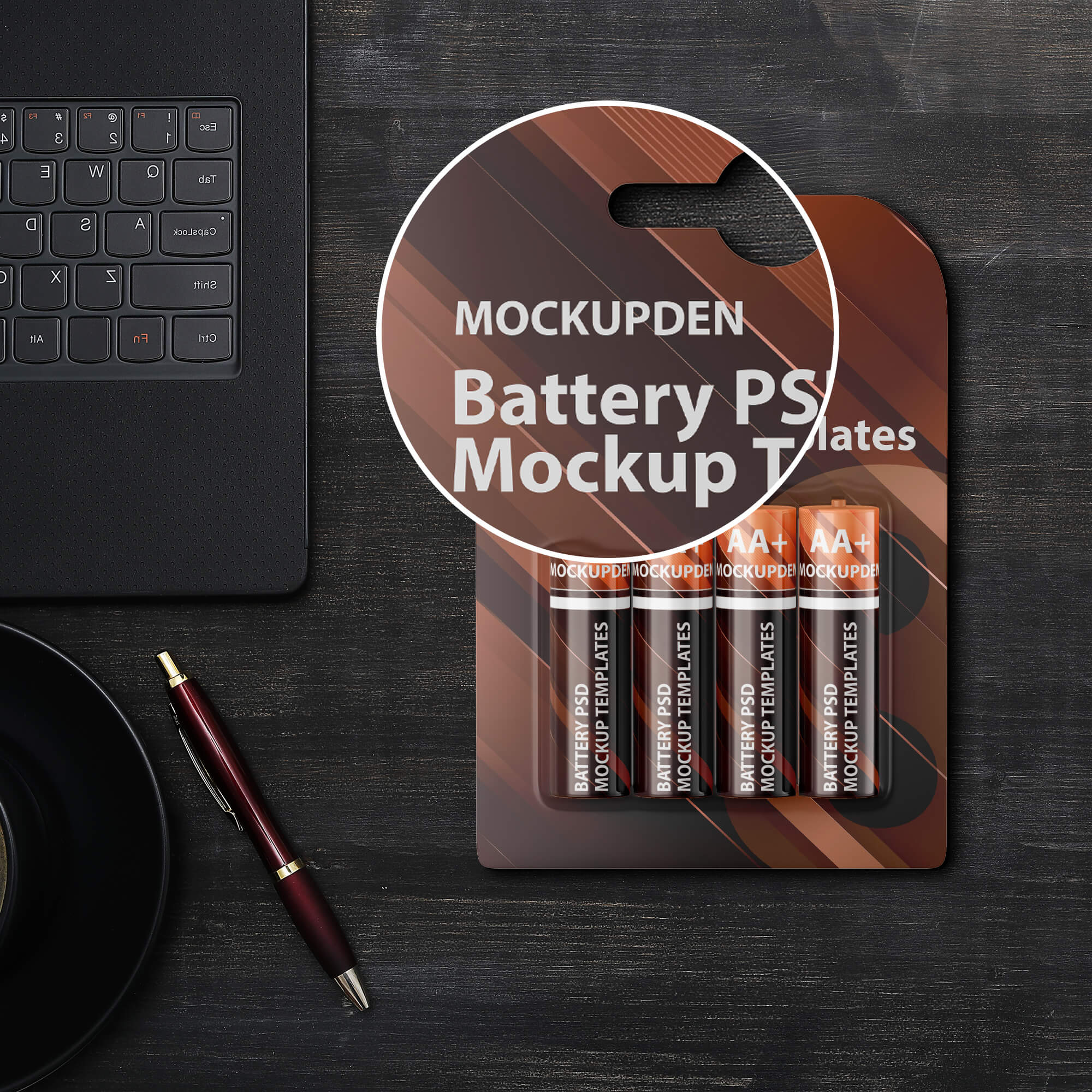 Close Up Of a Free Battery PSD Mockup Templates