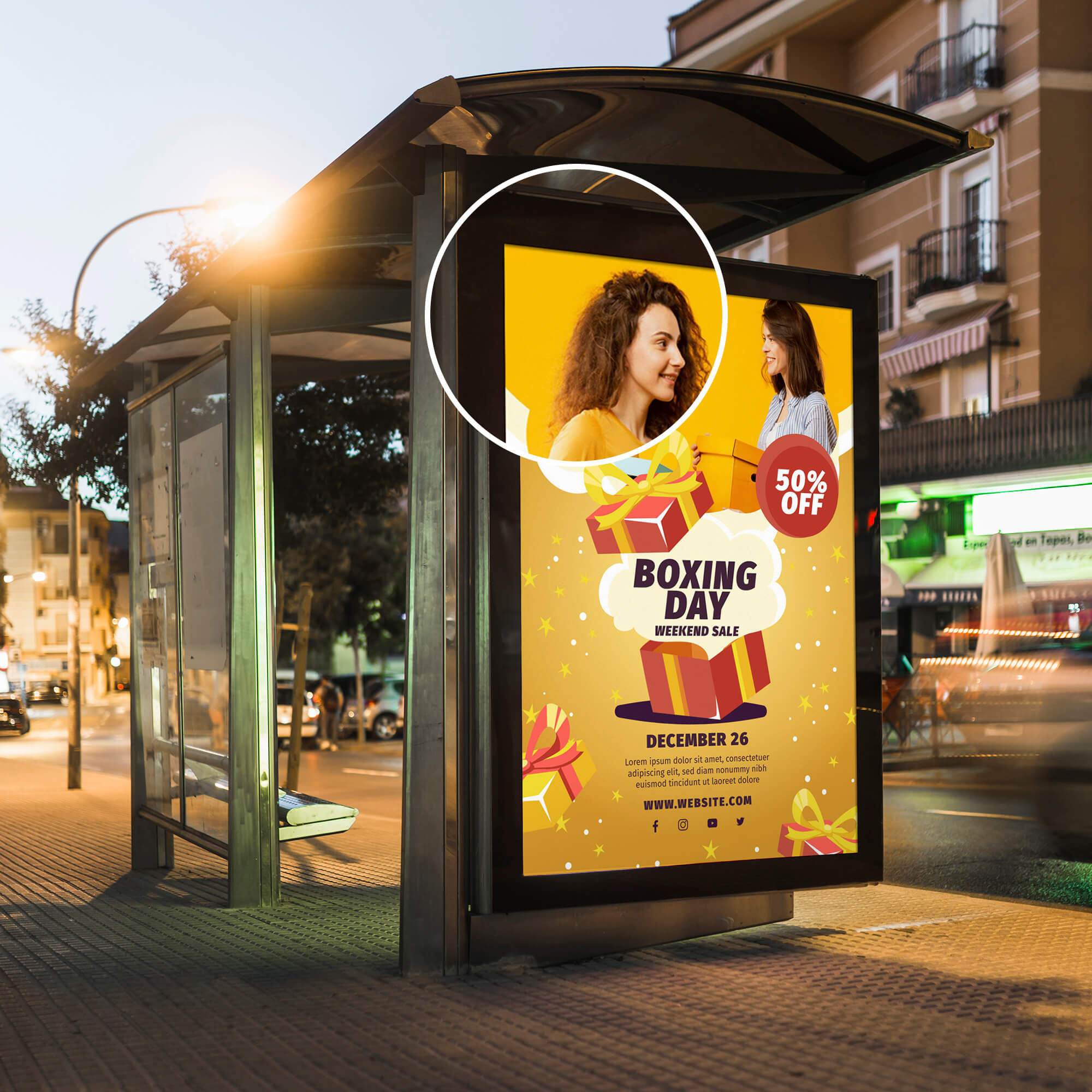 Close Up Of a Free Bus Poster Mockup PSD Template