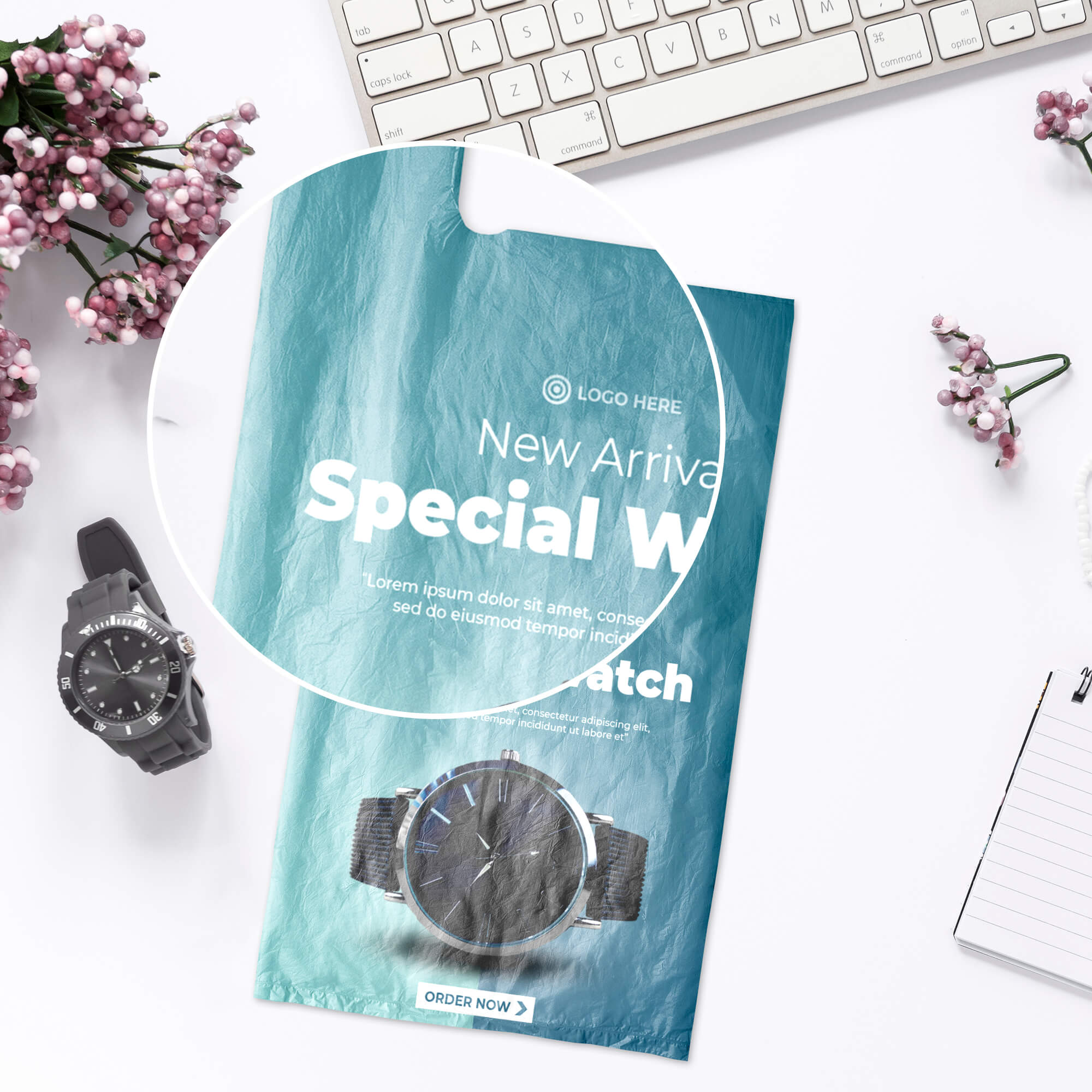 Close Up Of a Free Carrier Bag Mockup PSD Template