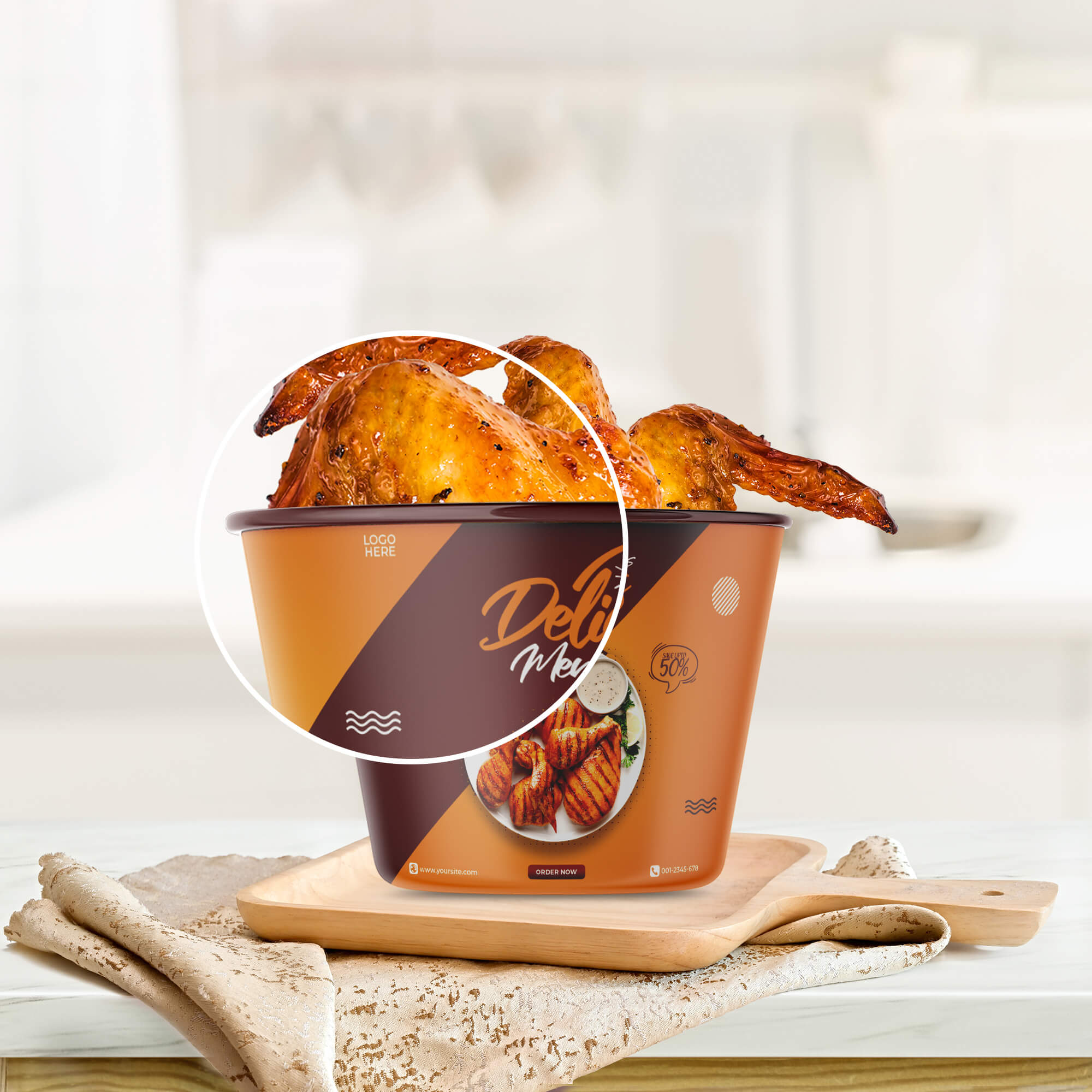 Close Up Of a Free Chicken Bucket Mockup PSD Template