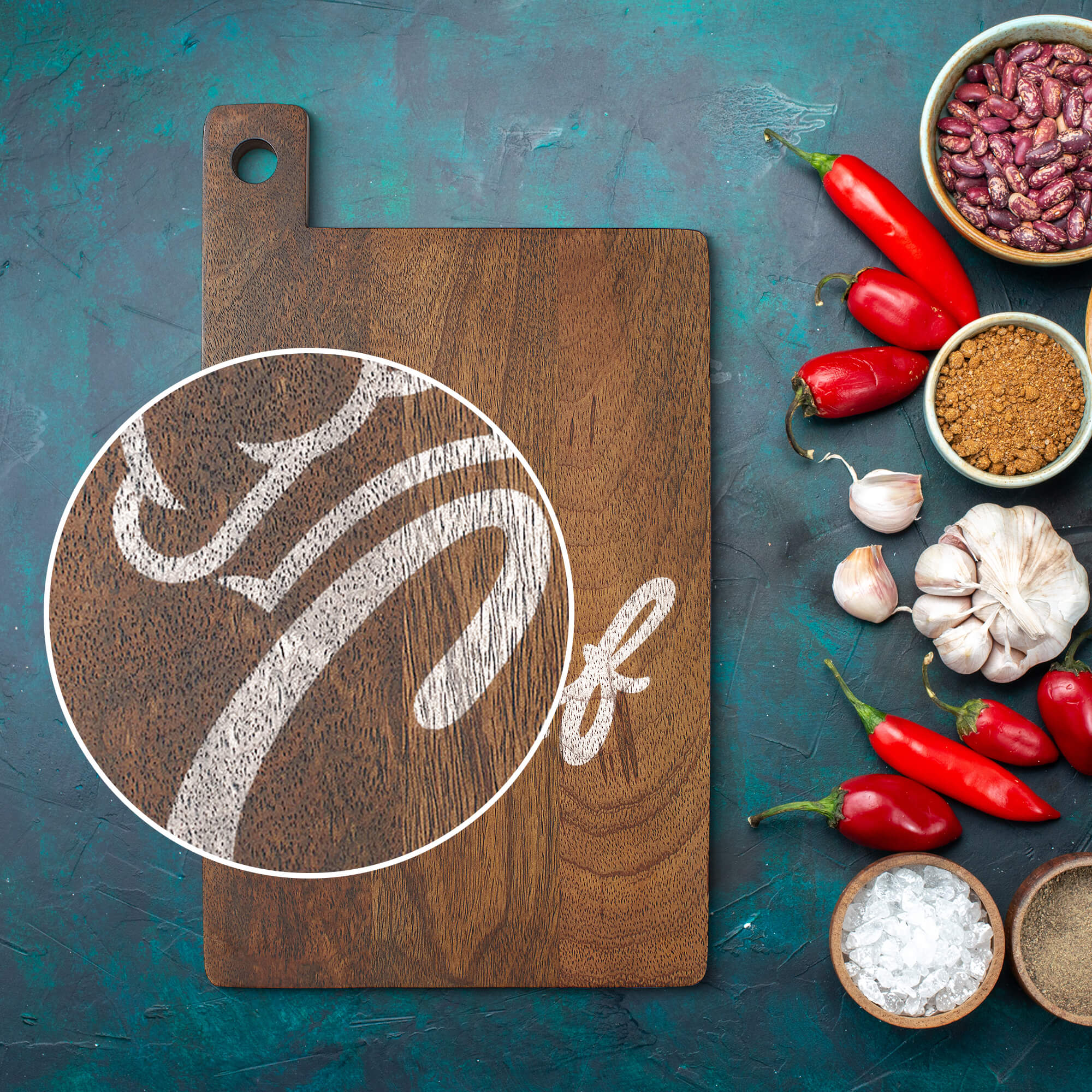 Close Up Of a Free Cutting Board Mockup PSD Template