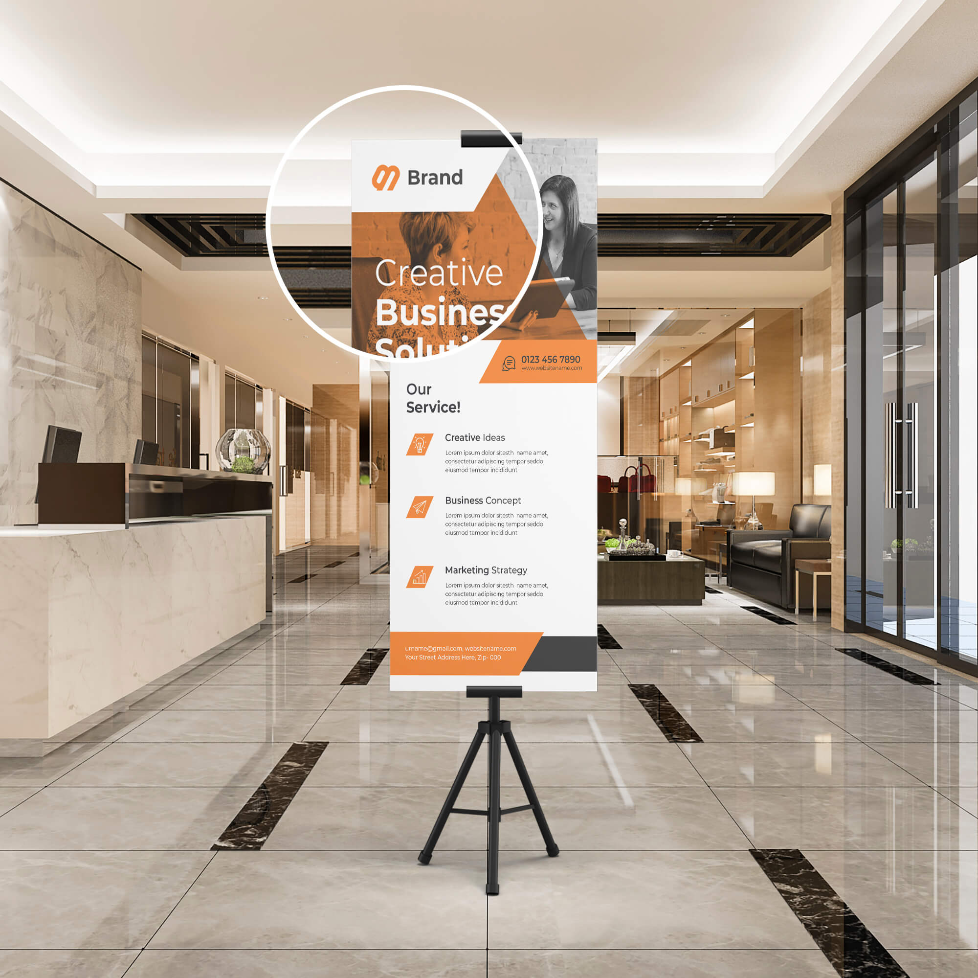 Close Up Of a Free Exhibition Stand Mockup PSD Template