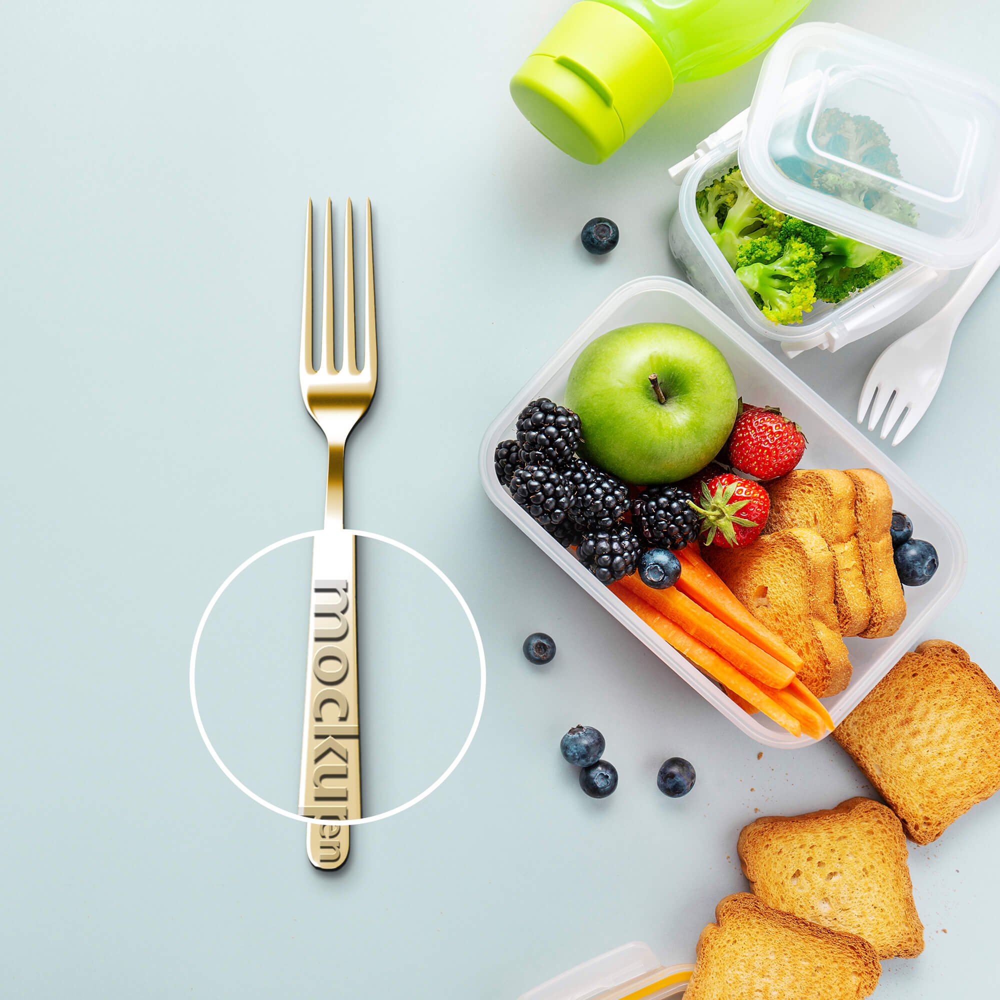Close Up Of a Free Fork Mockup PSD Template
