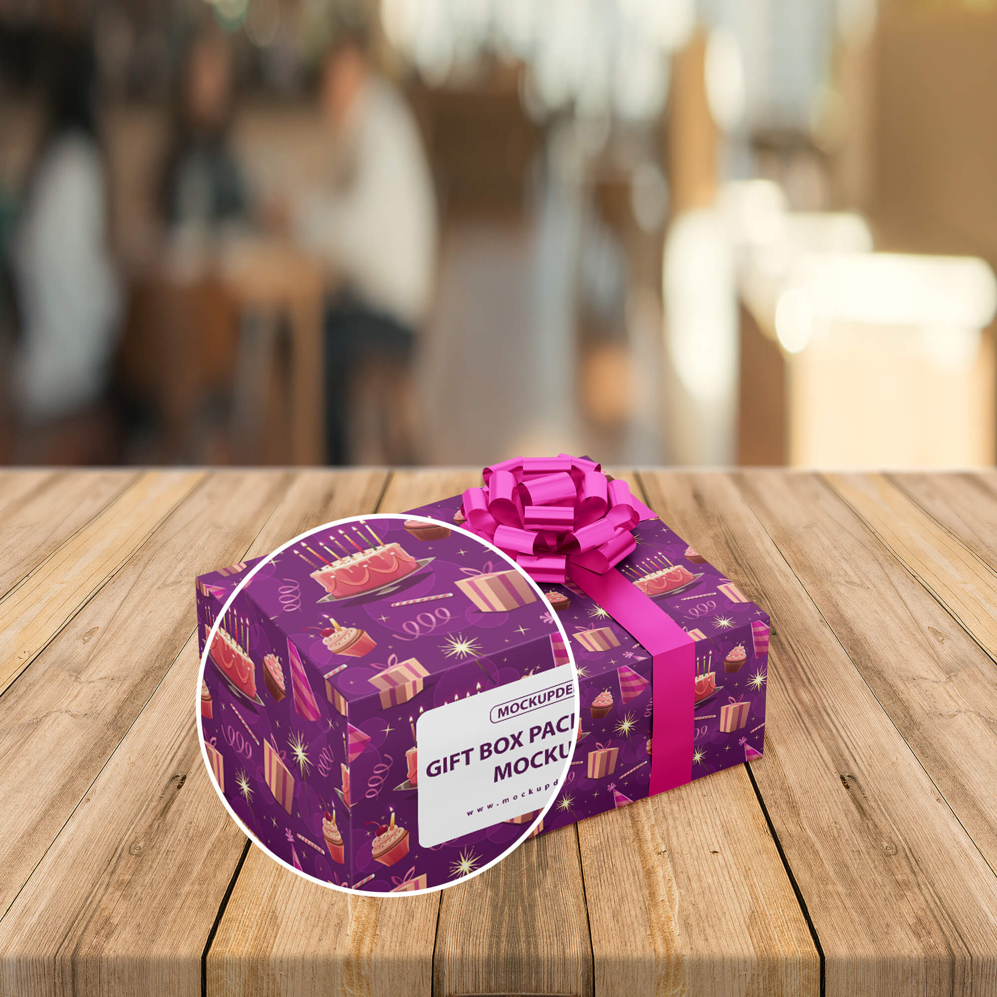 Close Up Of a Free Gift Box Packaging Mockup PSD Template
