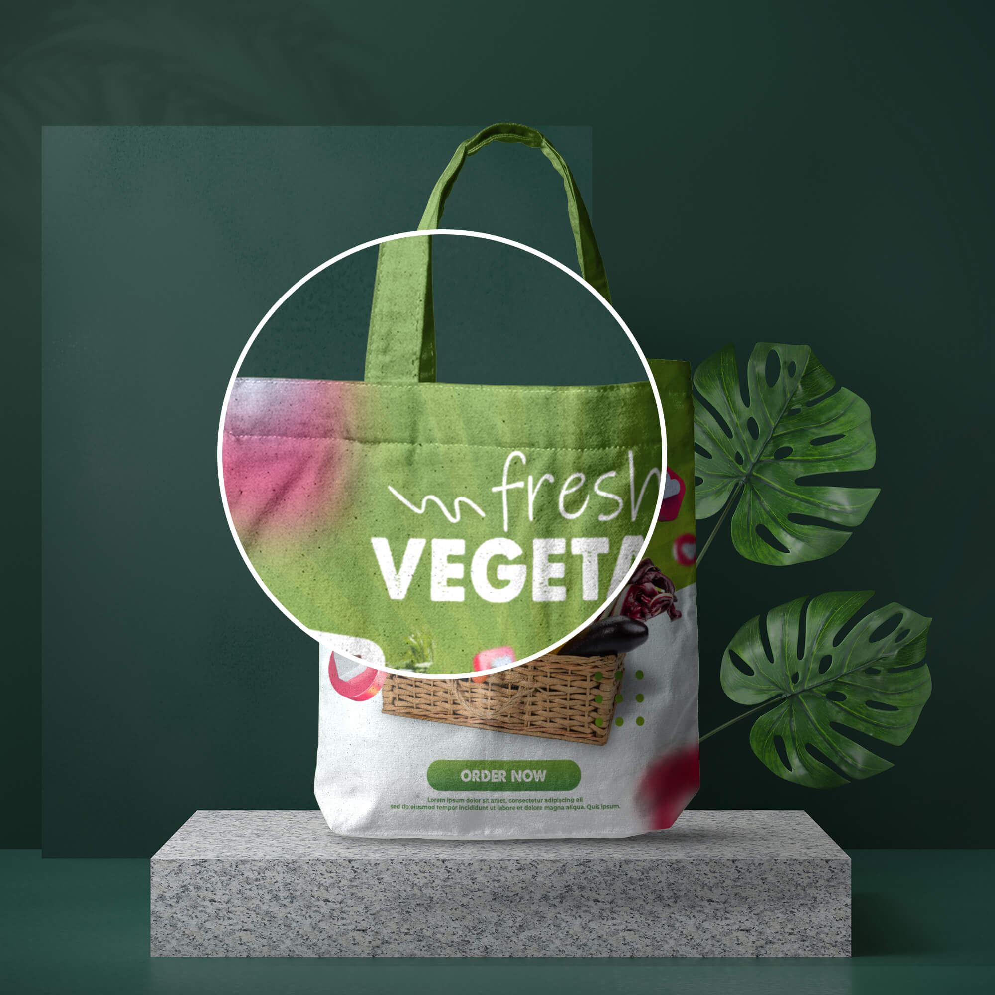 Close Up Of a Free Grocery Bag Mockup PSD Template