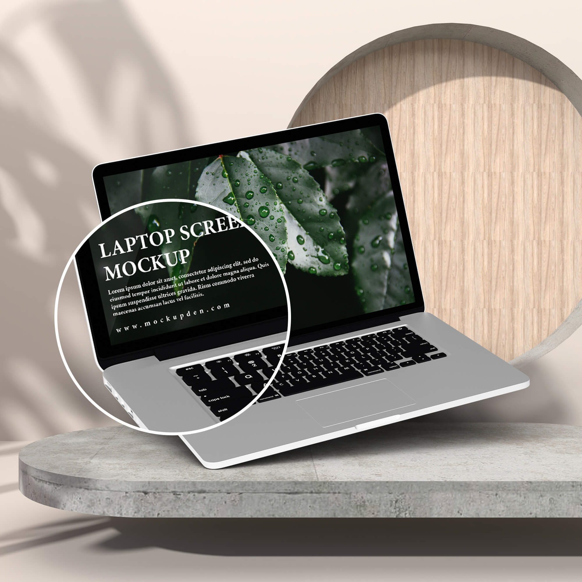 Close Up Of a Free Laptop Screen Mockup PSD Template