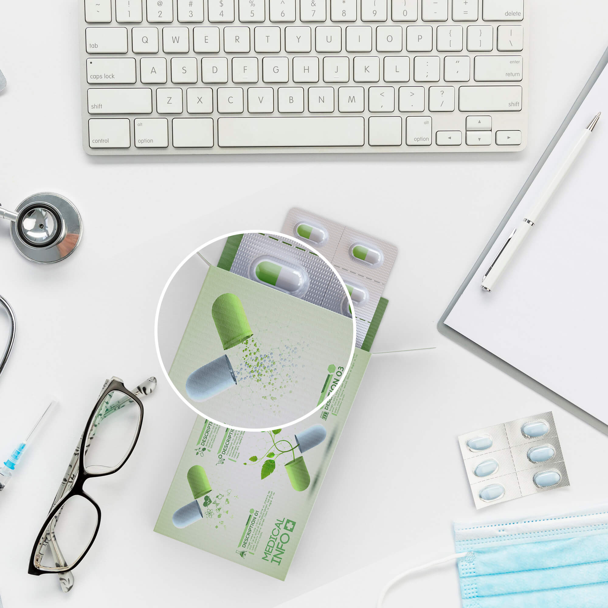 Close Up Of a Free Medical Packaging Mockup PSD Template