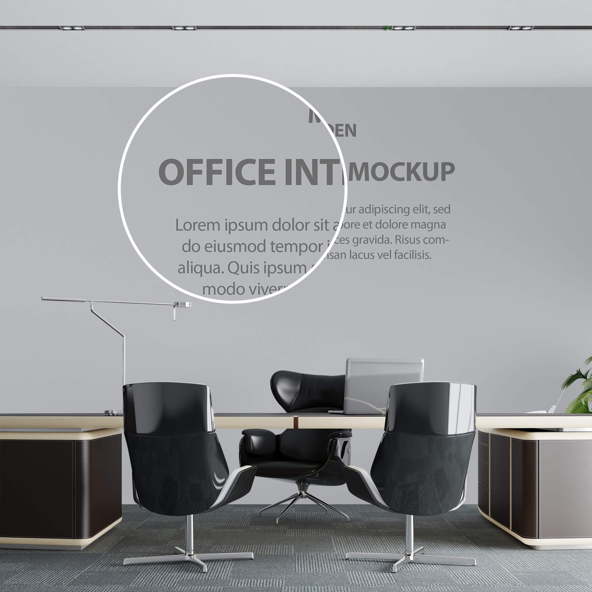 Close Up Of a Free Office interior Mockup PSD Template