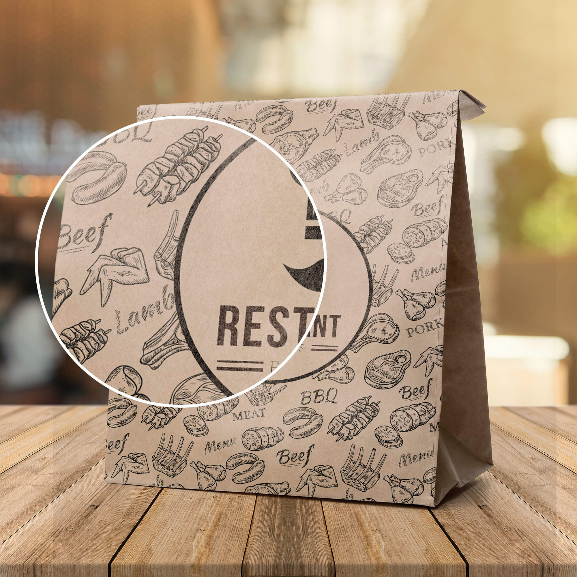 Close Up Of a Free Restaurant Packaging Mockup PSD Template