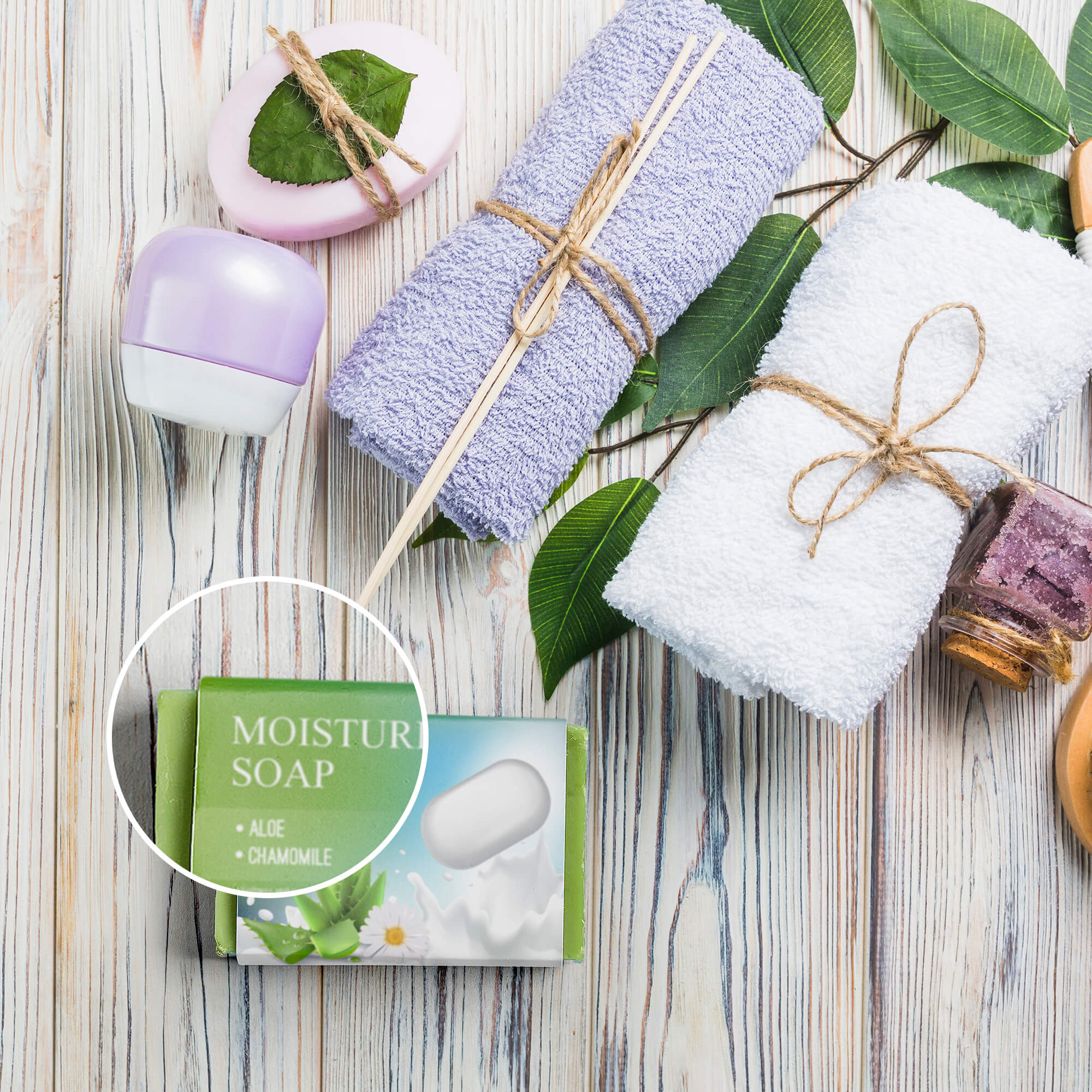 Close Up Of a Free Soap Packaging Mockup PSD Template