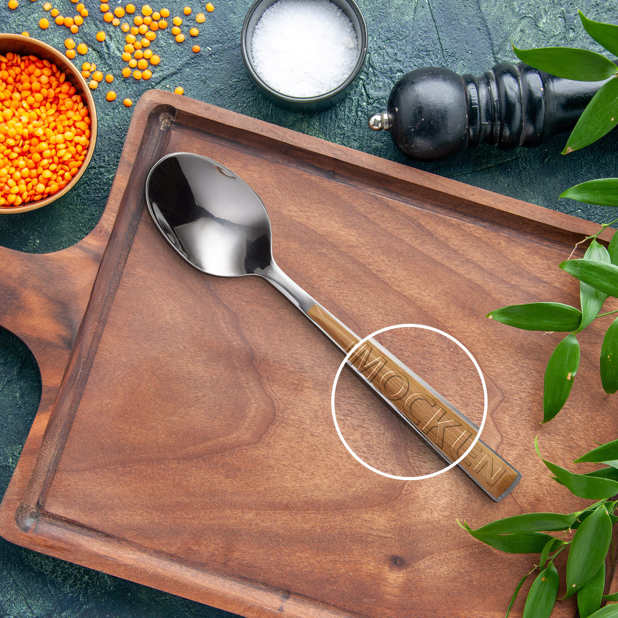 Close Up Of a Free Spoon Mockup PSD Template