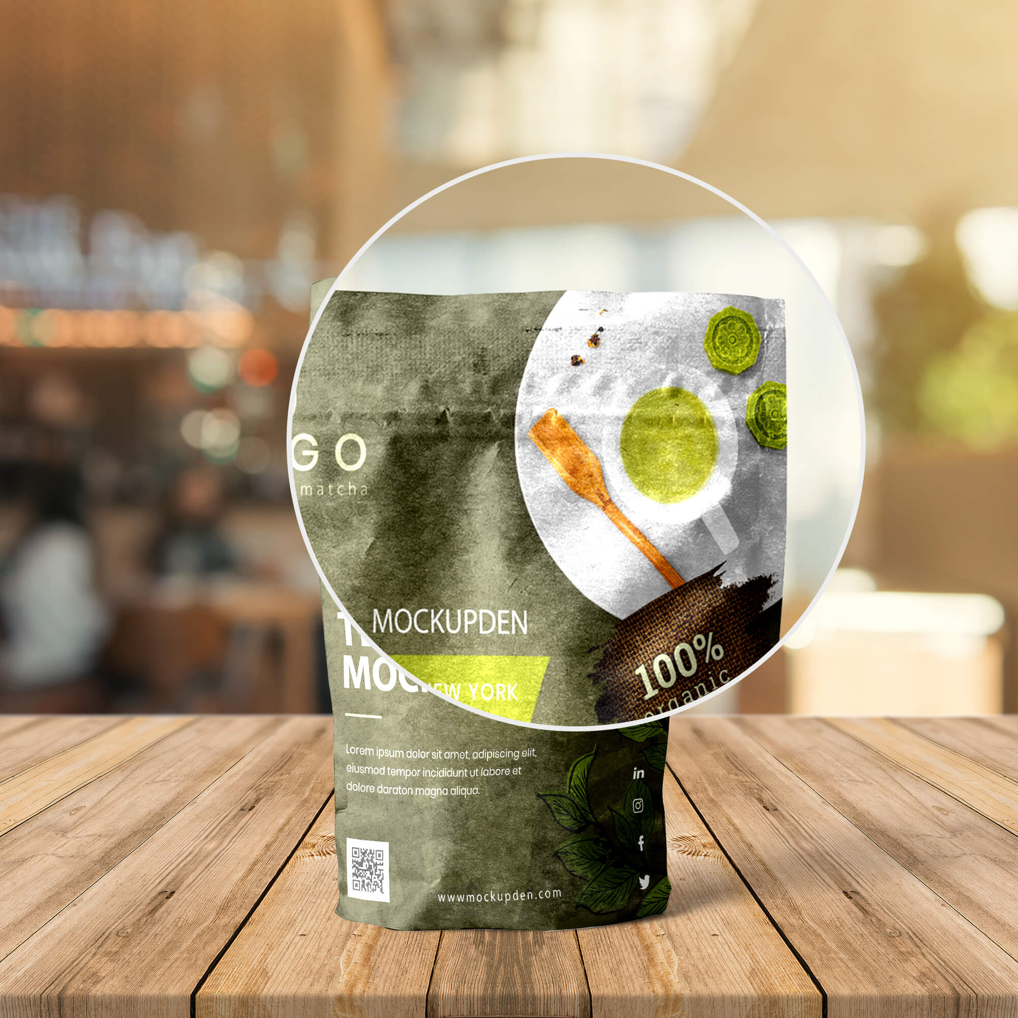 Close Up Of a Free Tea Packaging Mockup PSD Template