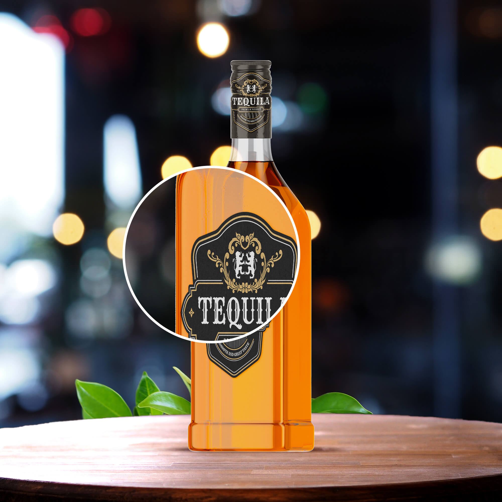 Close Up Of a Free Tequila Bottle Mockup PSD Template