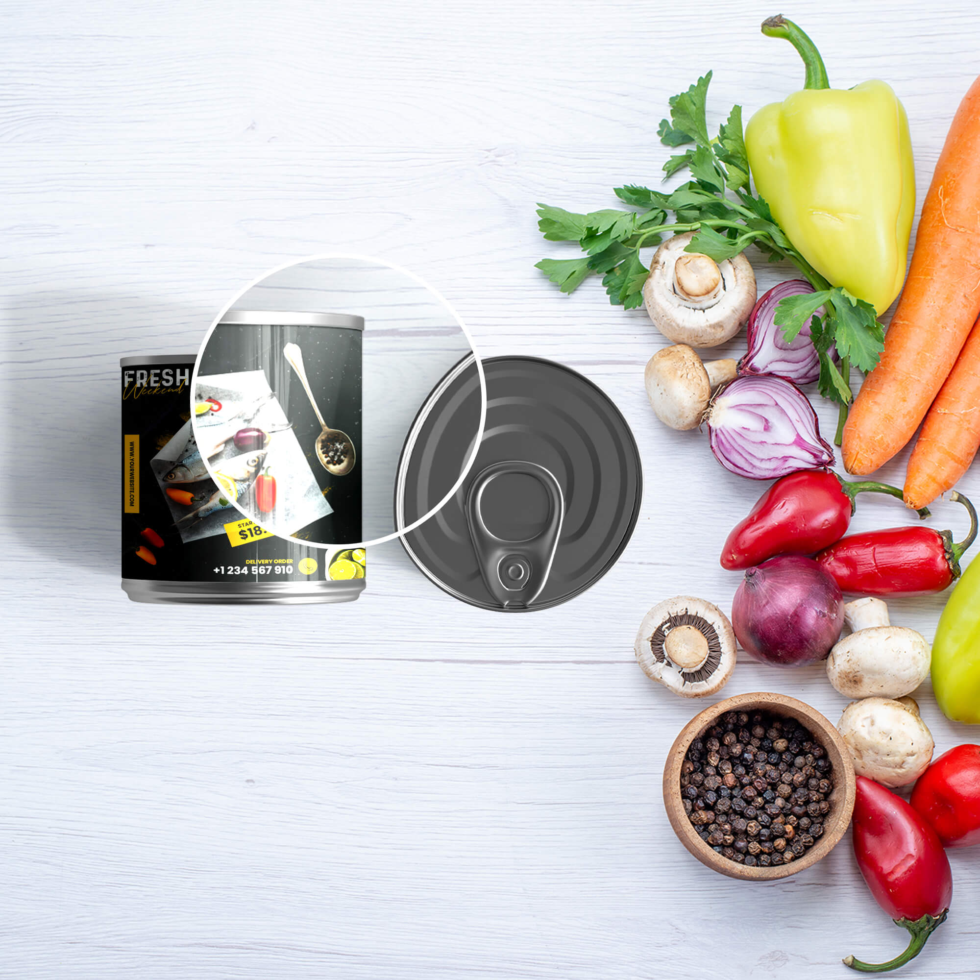 Close Up Of a Free Tin Packaging Mockup PSD Template