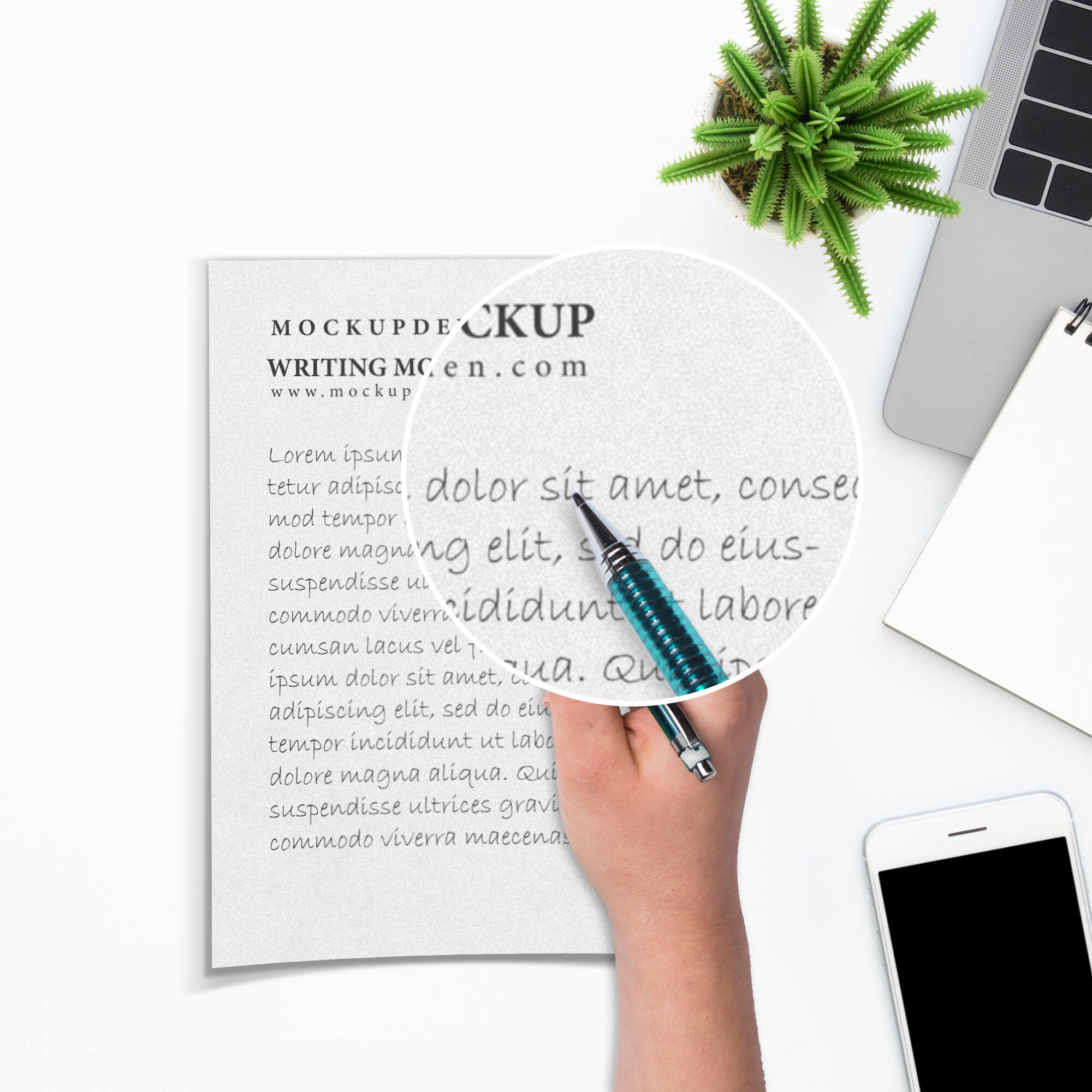 Close Up Of a Free Writing Mockup PSD Template