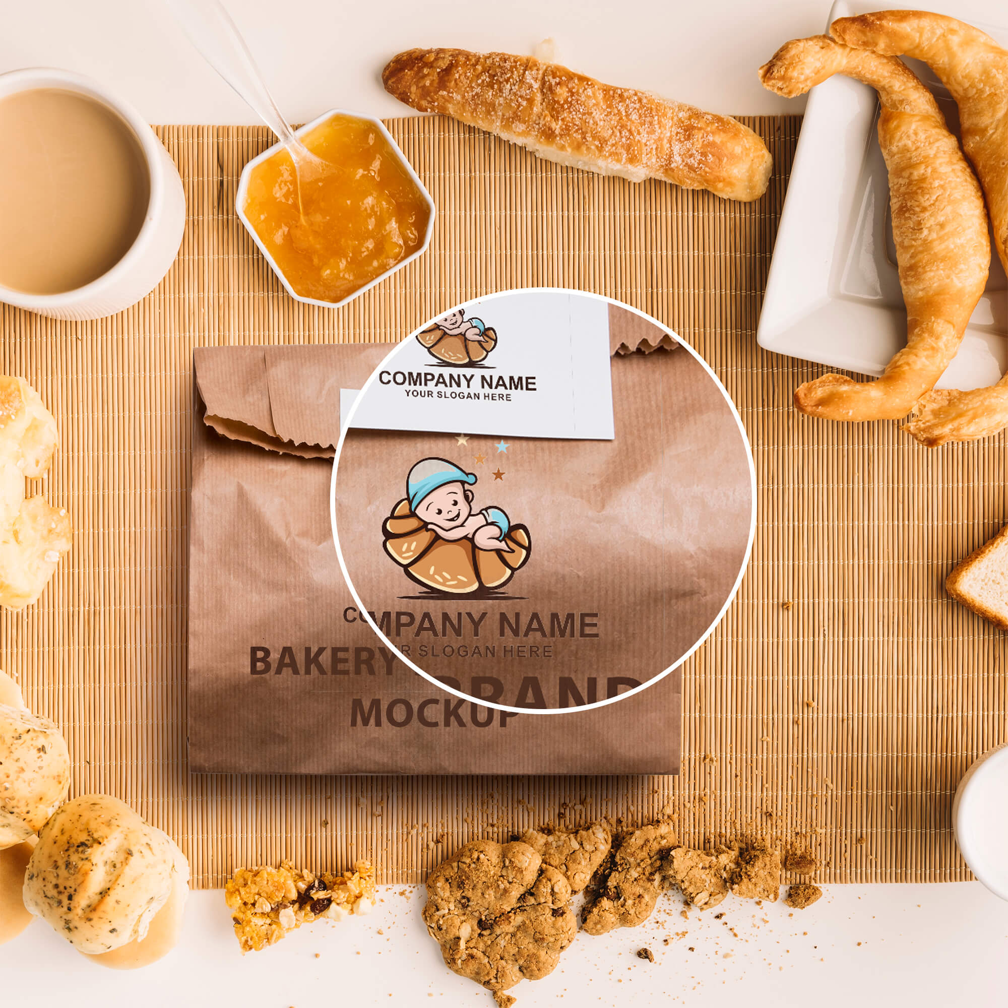 Close Up of a Free Bakery Branding Mockup PSD Template