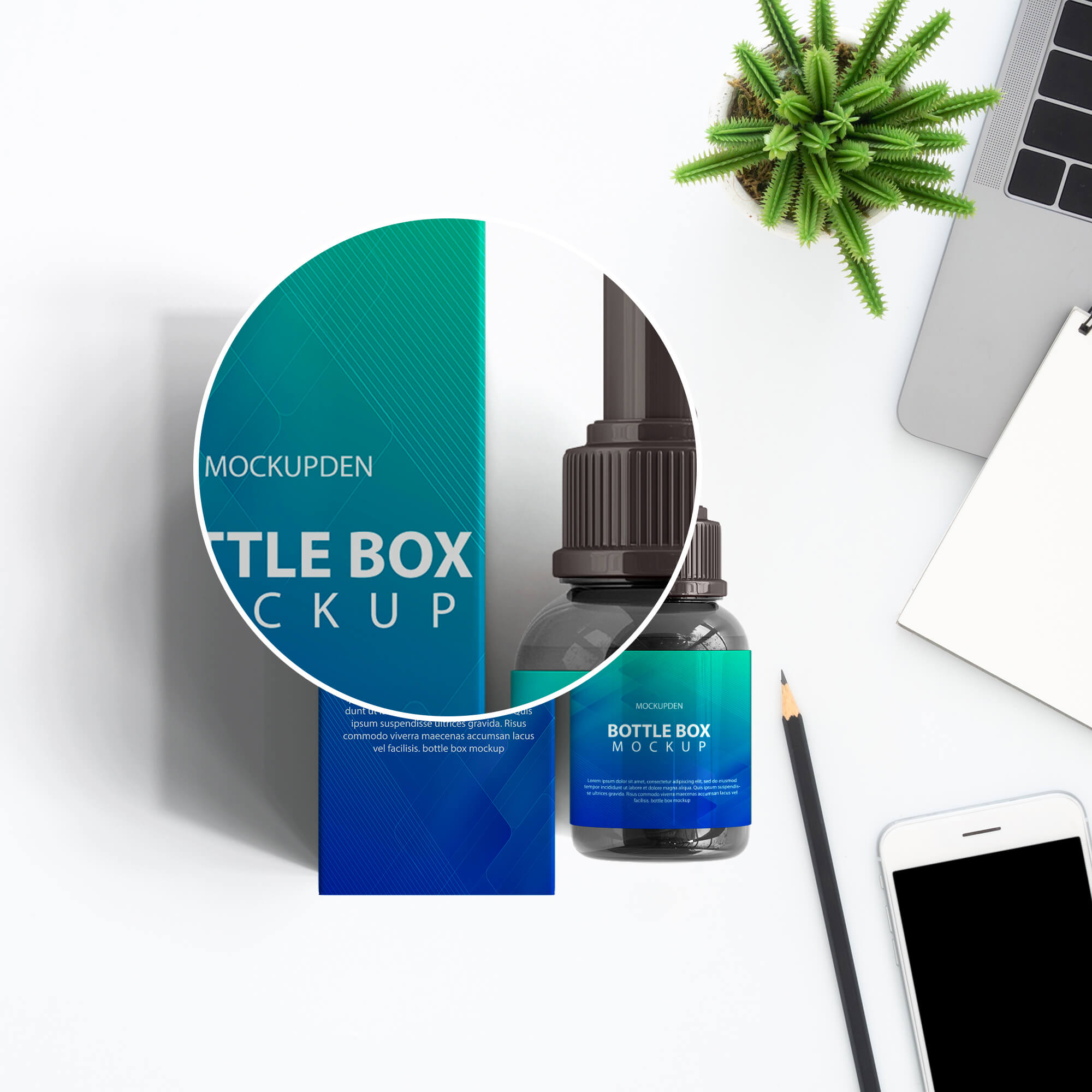 Close Up of a Free Bottle Box Mockup PSD Template