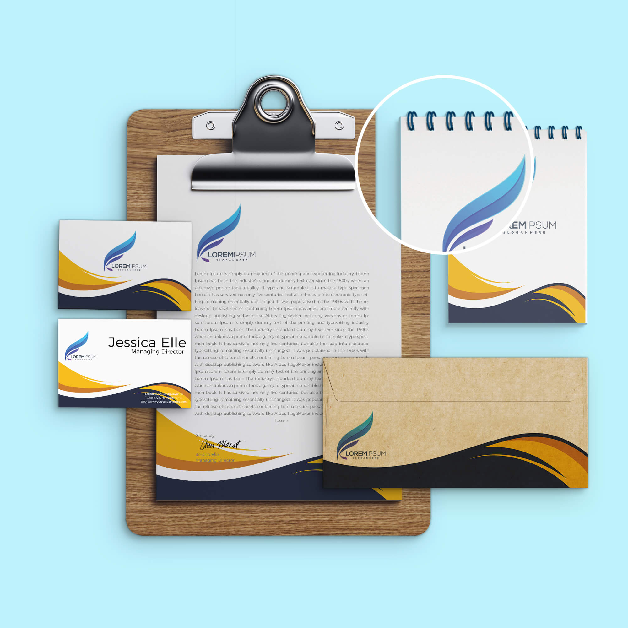 Close Up of a Free Corporate Identity Mockup PSD Template