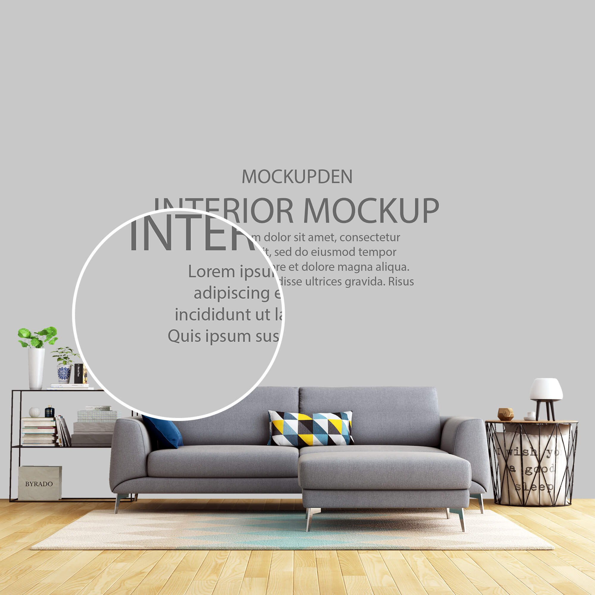 Close Up of a Free Interior Mockup PSD Template