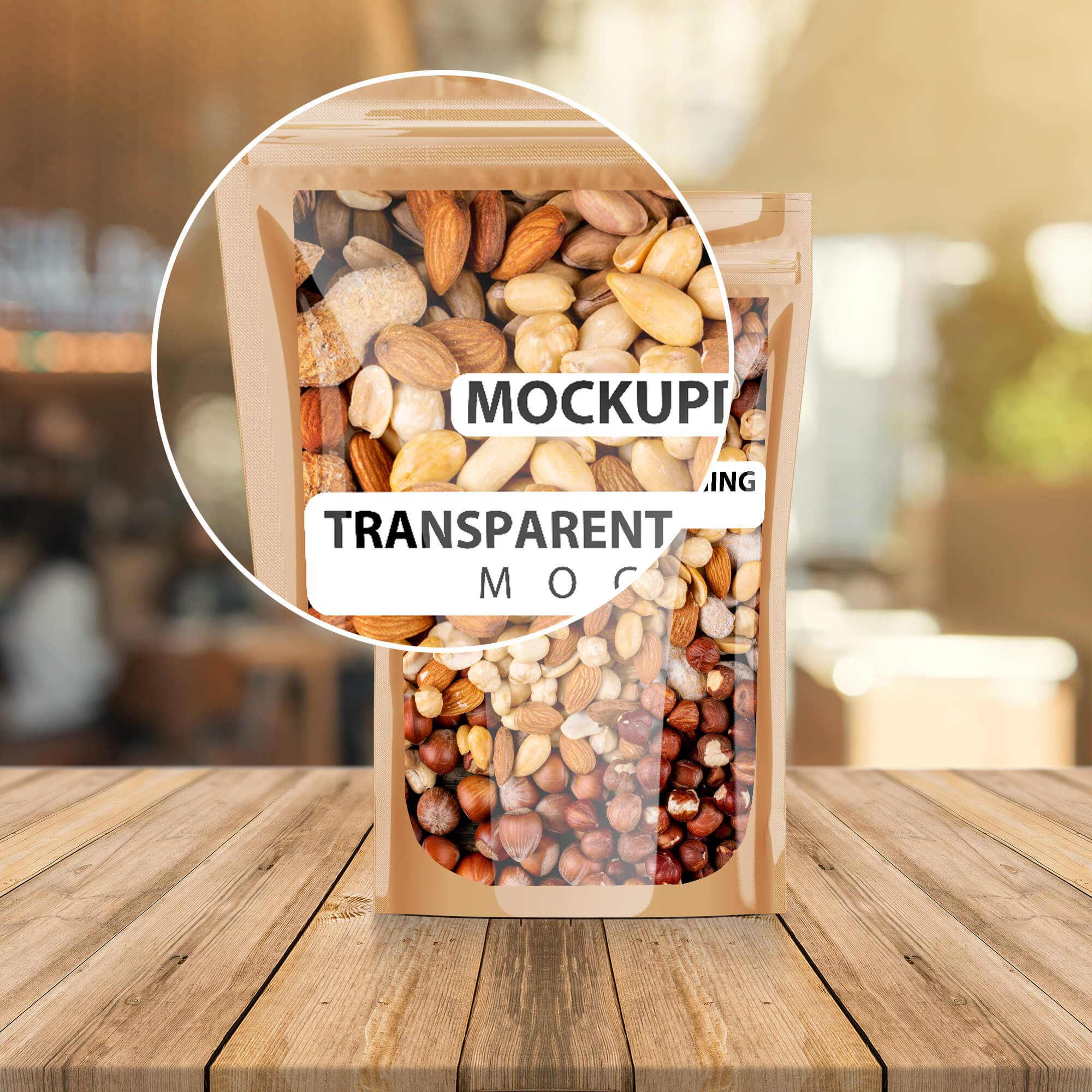 Close Up of a Free Transparent Packaging Mockup PSD Template