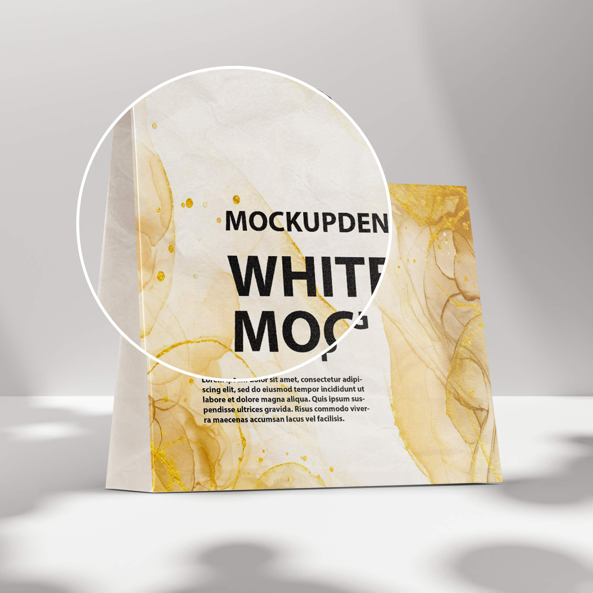 Close Up of a Free White Bag Mockup PSD Template