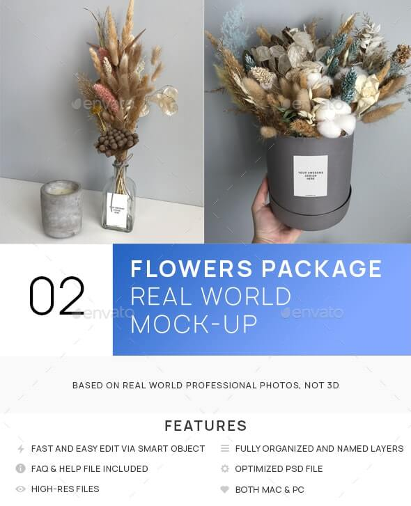 Dried Flowers Box and Bottle Real World Mock-up