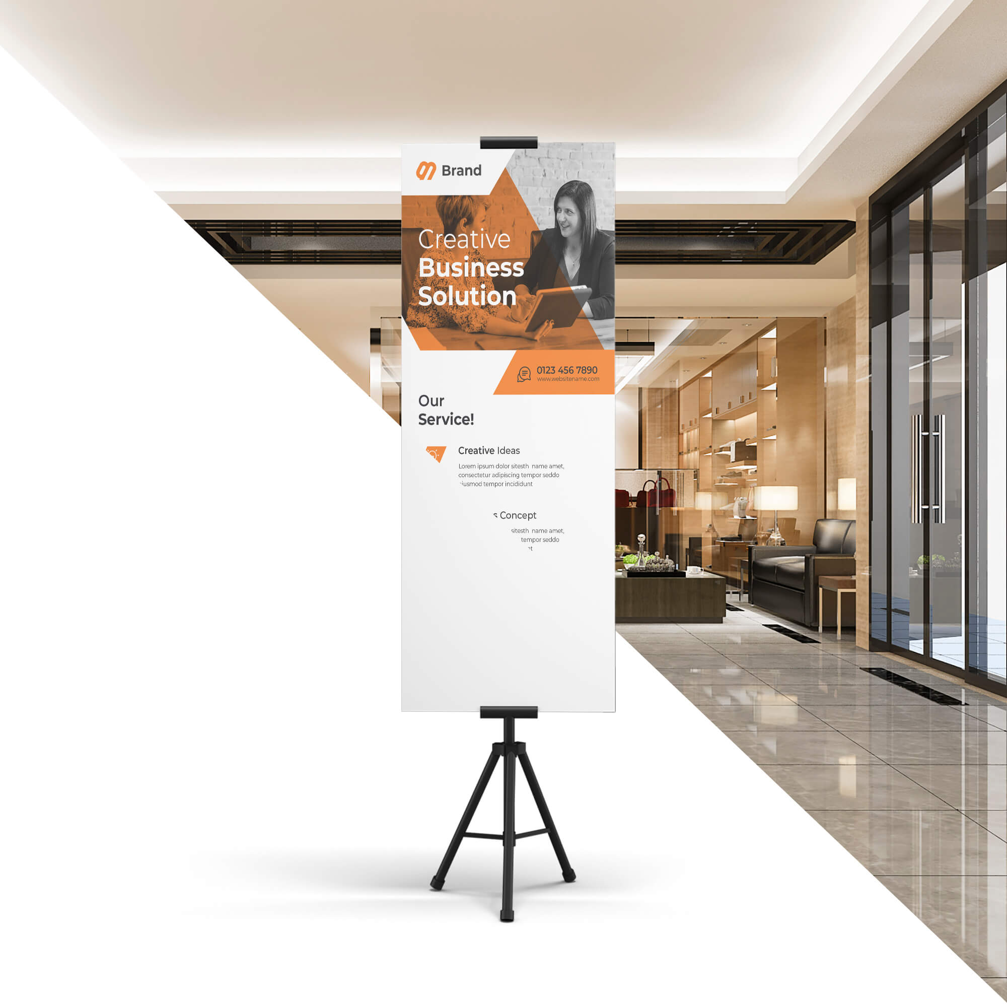 Editable Free Exhibition Stand Mockup PSD Template