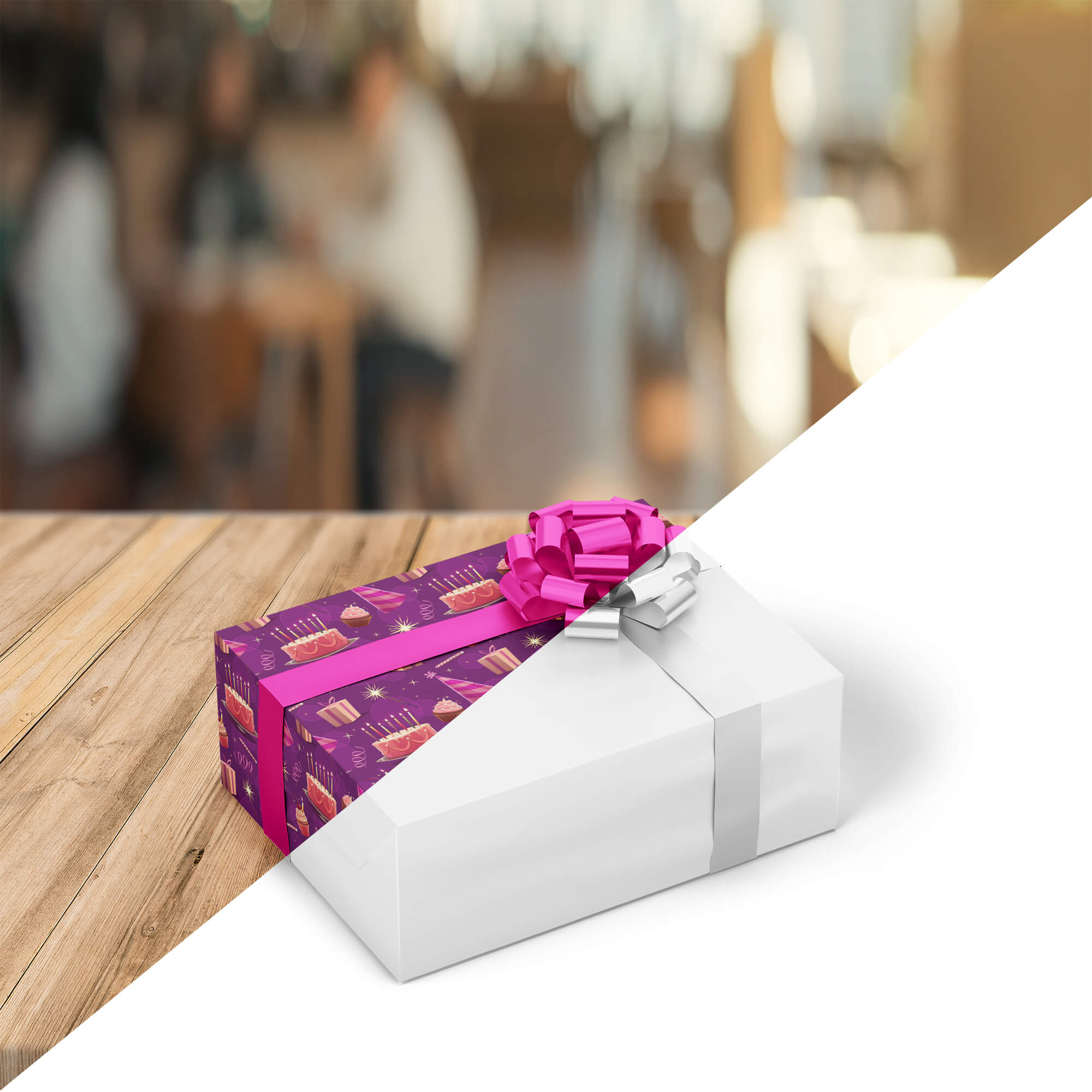 Editable Free Gift Box Packaging Mockup PSD Template