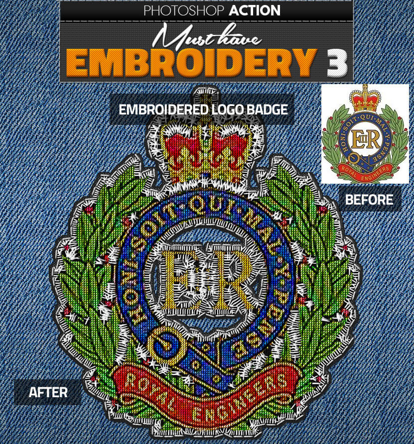 Embroidered Logo Badge Photoshop Action
