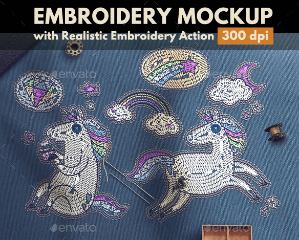 Embroidery Mockup with Embroidery Photoshop Action