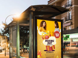 Free Bus Poster Mockup PSD Template