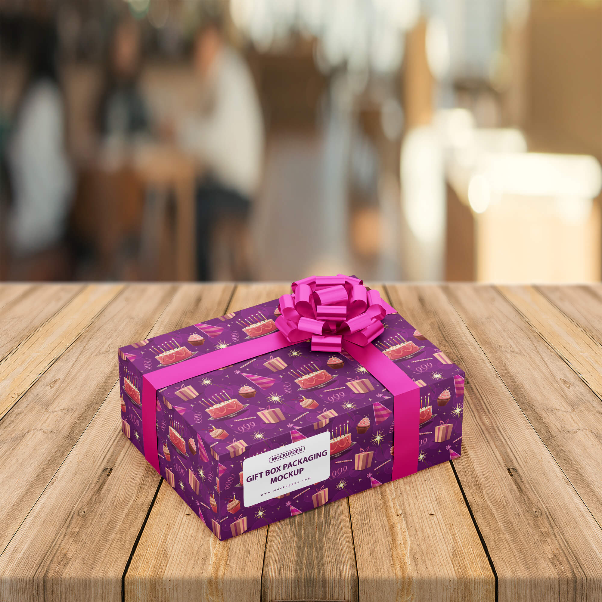 Free Gift Box Packaging Mockup PSD Template
