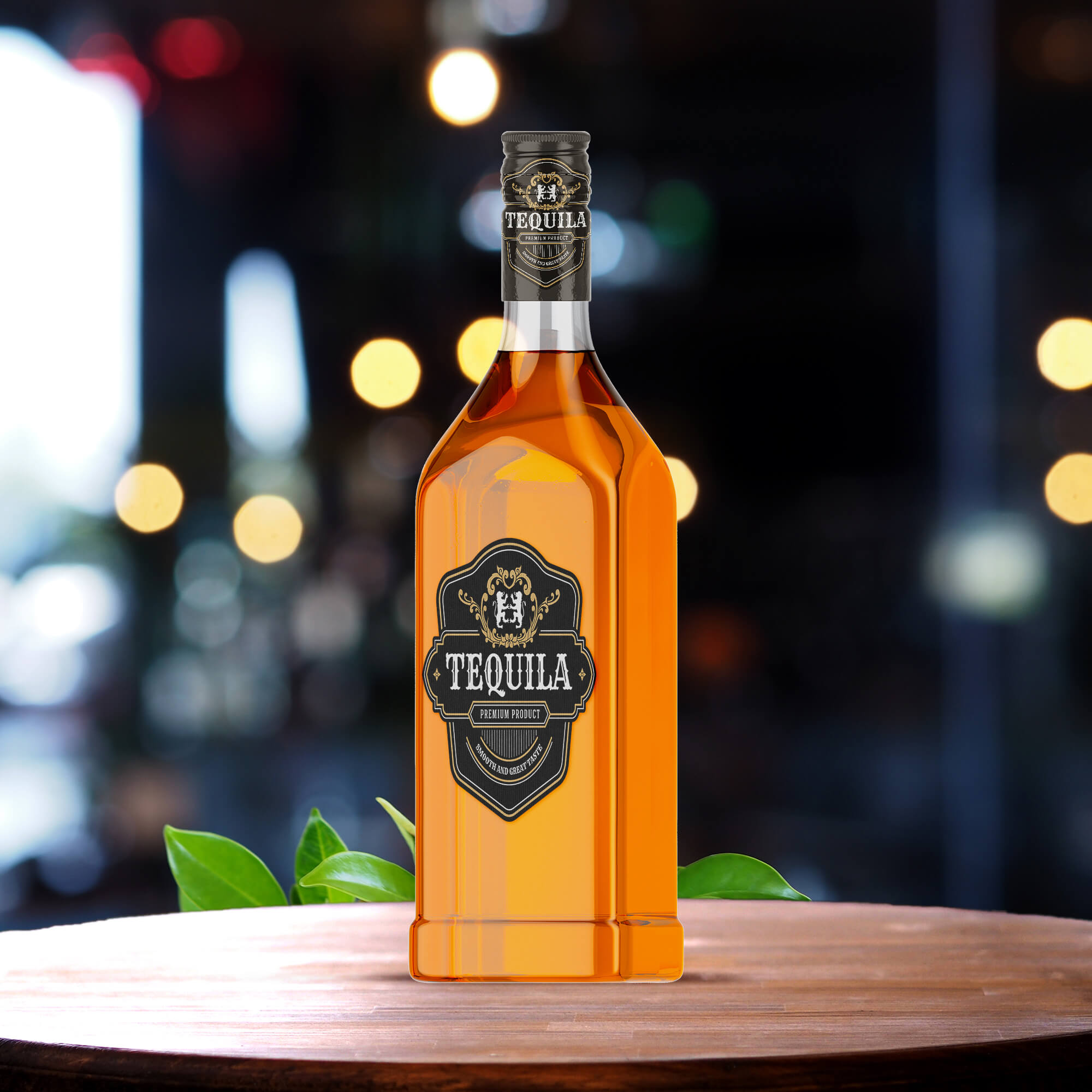 Free Tequila Bottle Mockup PSD Template