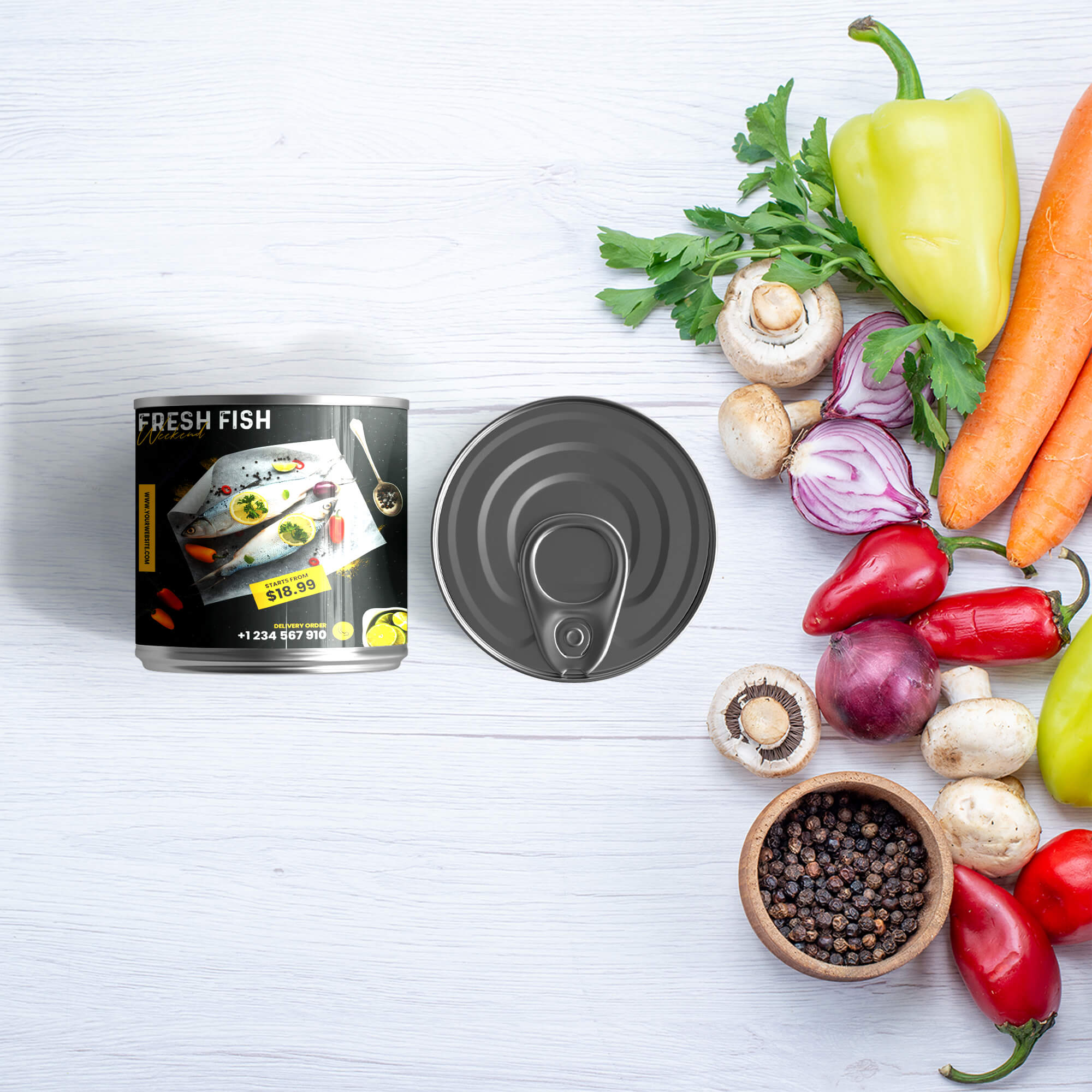 Free Tin Packaging Mockup PSD Template