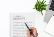 Free Writing Mockup PSD Template