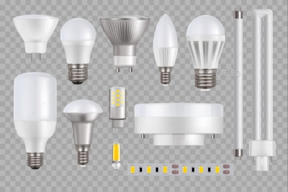 LED Light Bulbs and Lamps Transparent Background
