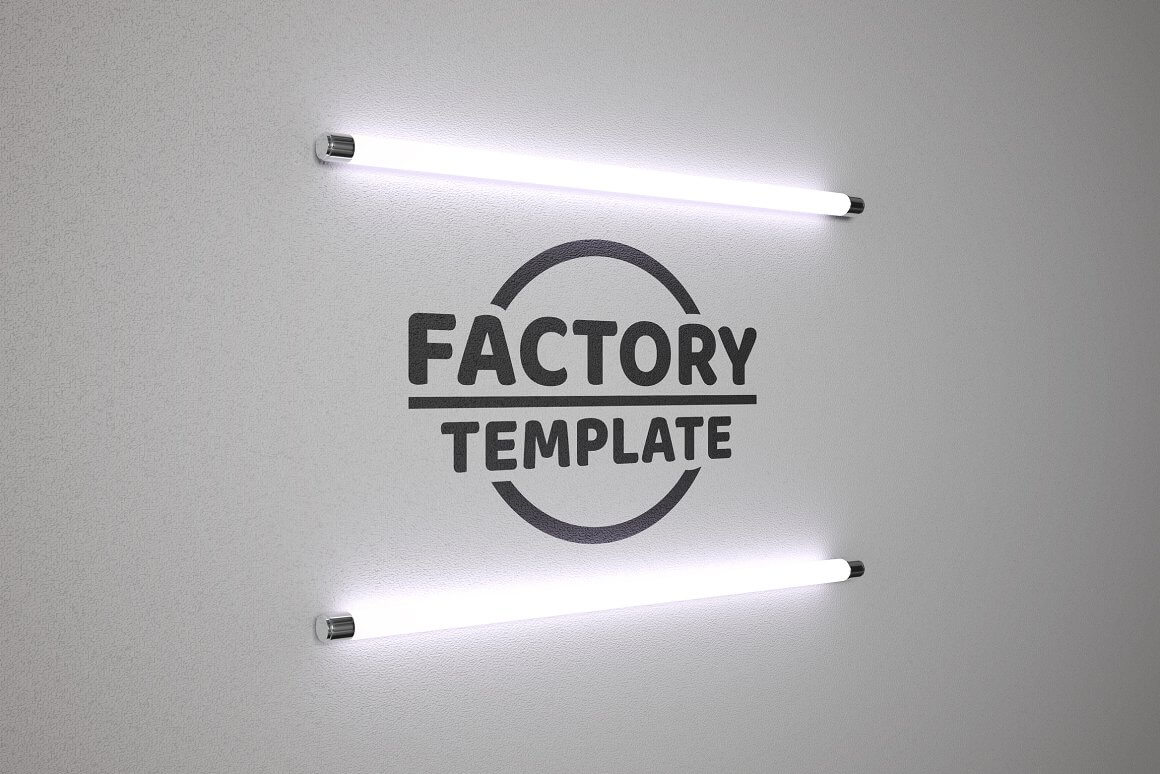 Logo in the bulb of fluorescent lamp