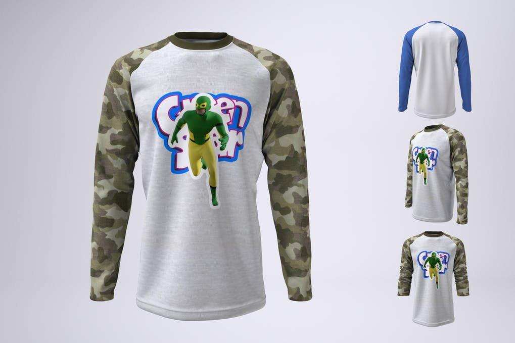 Long Sleeve Baseball T-Shirt Mock-Up