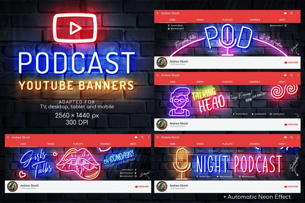 Neon Podcast YouTube Templates