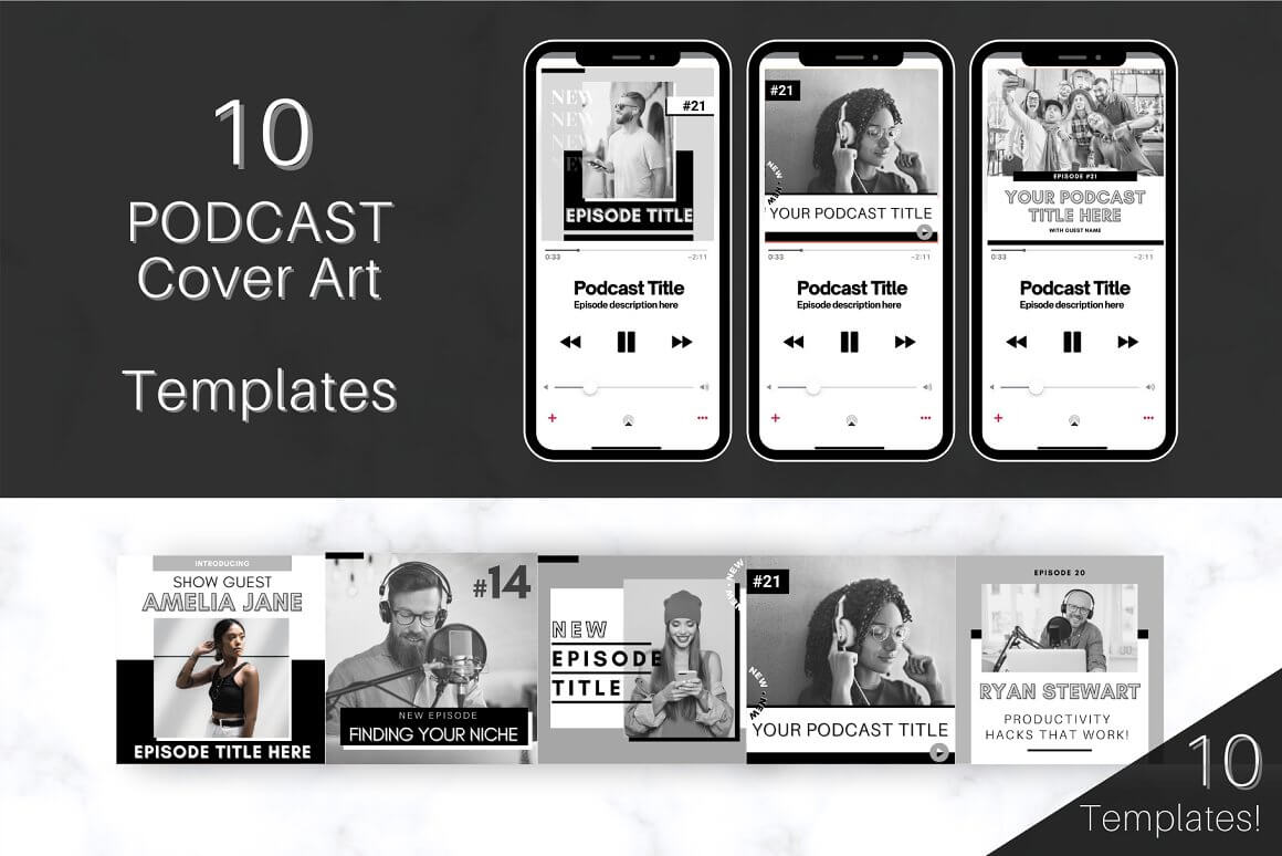 Podcast COVER ART Template Bundle (2)