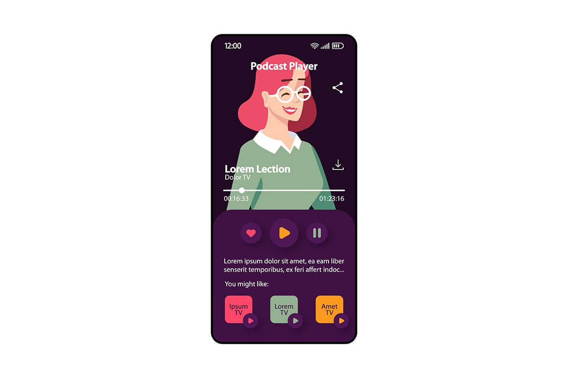 Podcast player smartphone interface