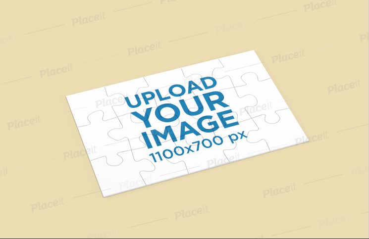 Puzzle Mockup Featuring a Solid Color Surface